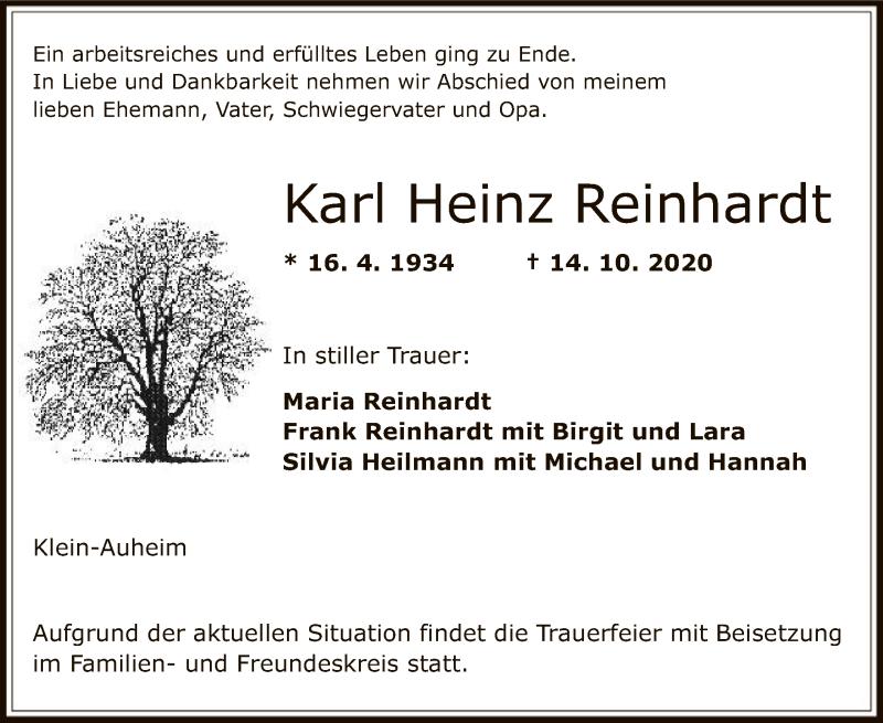 Traueranzeige für Karl Heinz Reinhardt vom 22.10.2020 aus OF