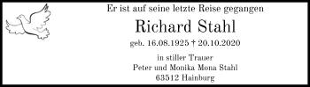Traueranzeige von Richard Stahl von OF