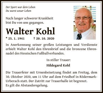 Traueranzeige von Walter Kohl von OF