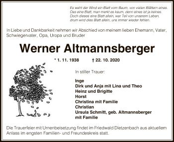 Traueranzeige von Werner Altmannsberger von OF