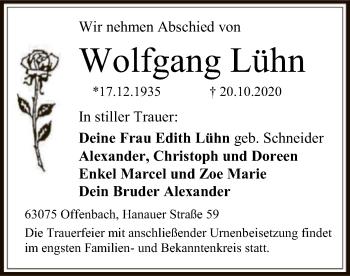 Traueranzeige von Wolfgang Lühn von OF