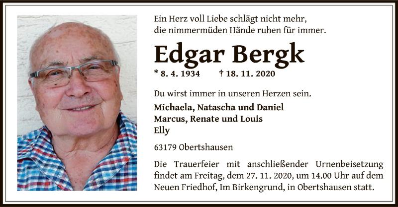Traueranzeige für Edgar Bergk vom 26.11.2020 aus OF