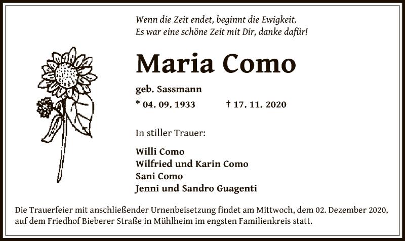 Traueranzeige für Maria Como vom 26.11.2020 aus OF