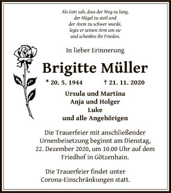 Traueranzeige von Brigitte Müller von OF
