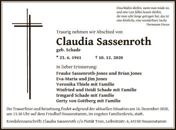 Traueranzeige von Claudia Sassenroth von OF