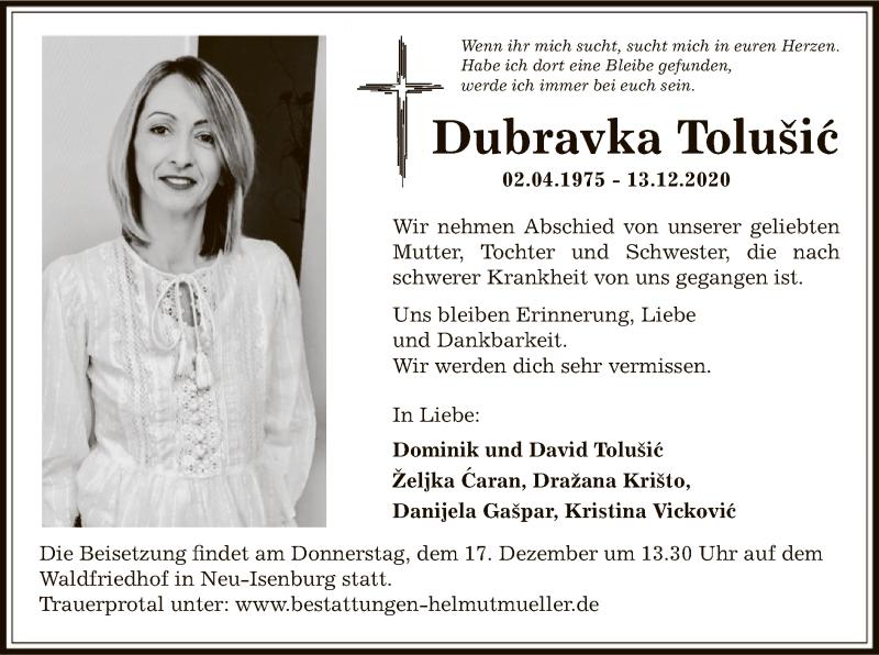 Traueranzeige für Dubravka Tolusic vom 16.12.2020 aus OF
