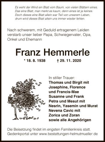 Traueranzeige von Franz Hemmerle von OF