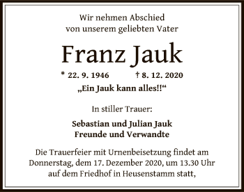 Traueranzeige von Franz Jauk von OF