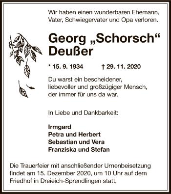 Traueranzeige von Georg Deußer von OF