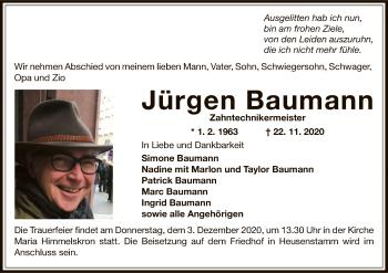 Traueranzeige von Jürgen Baumann von OF