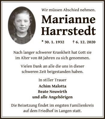 Traueranzeige von Marianne Harrstedt von OF