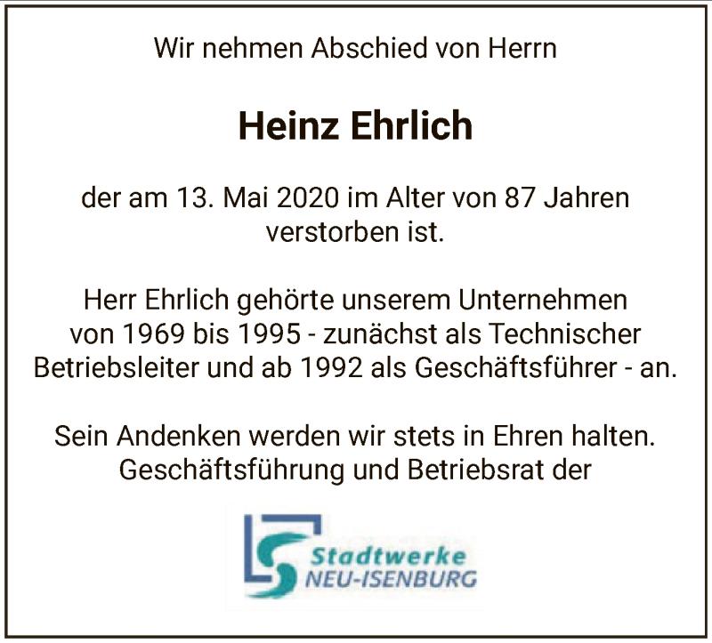 Traueranzeige für Heinz Ehrlich vom 21.05.2020 aus OF