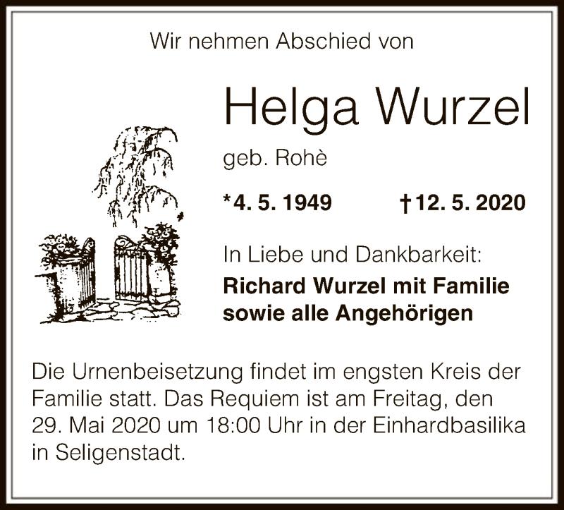 Traueranzeige für Helga Wurzel vom 20.05.2020 aus OF