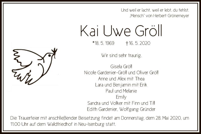 Traueranzeige für Kai Uwe Gröll vom 21.05.2020 aus OF