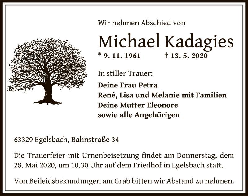Traueranzeige für Michael Kadagies vom 22.05.2020 aus OF