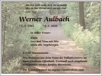 Traueranzeige von Werner Aulbach von OF