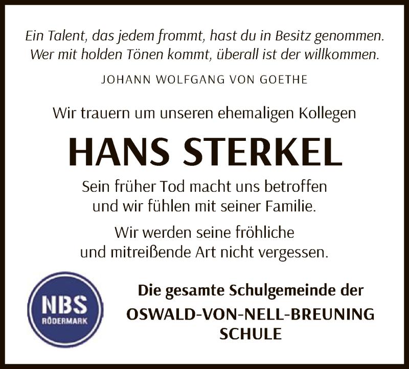 Traueranzeige für Hans Sterkel vom 11.06.2020 aus OF