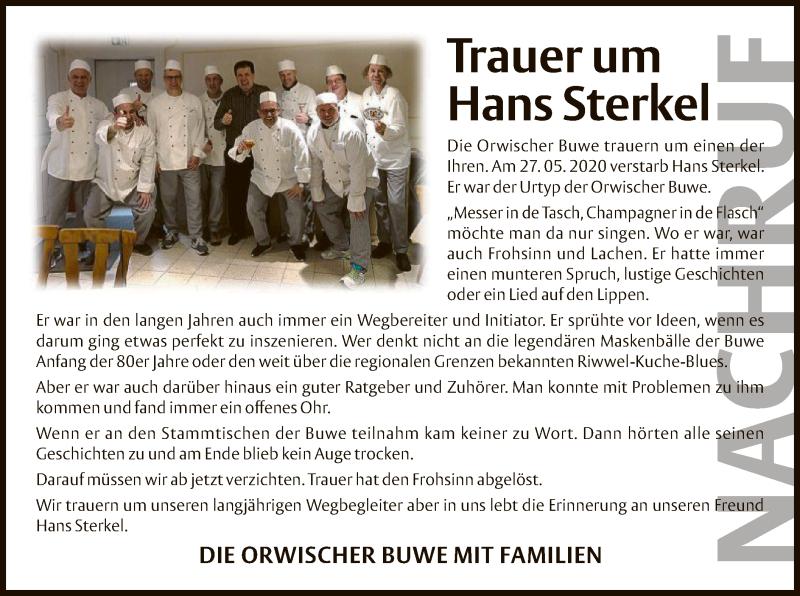 Traueranzeige für Hans Sterkel vom 18.06.2020 aus OF