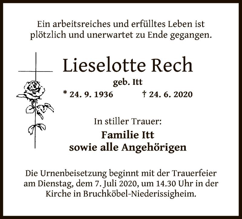 Traueranzeige für Lieselotte Rech vom 27.06.2020 aus OF