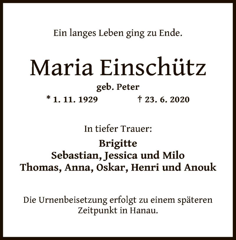Traueranzeige für Maria Einschütz vom 27.06.2020 aus OF