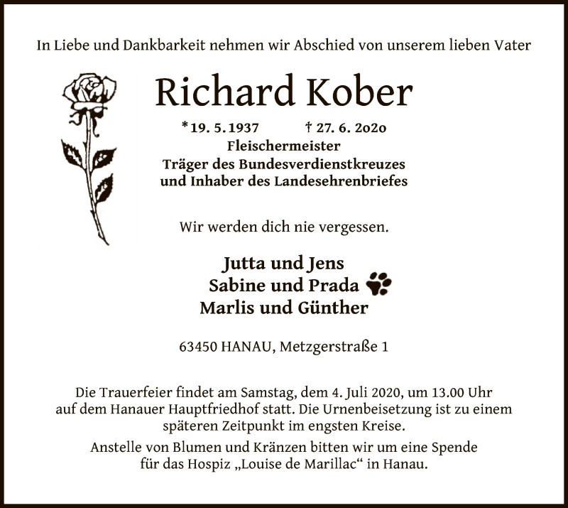 Traueranzeige für Richard Kober vom 30.06.2020 aus OF