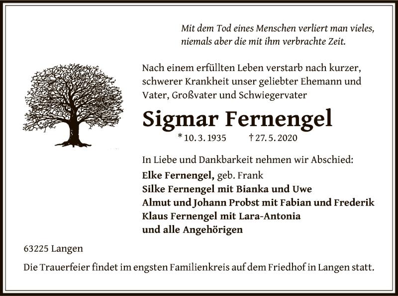 Traueranzeige für Sigmar Fernengel vom 04.06.2020 aus OF
