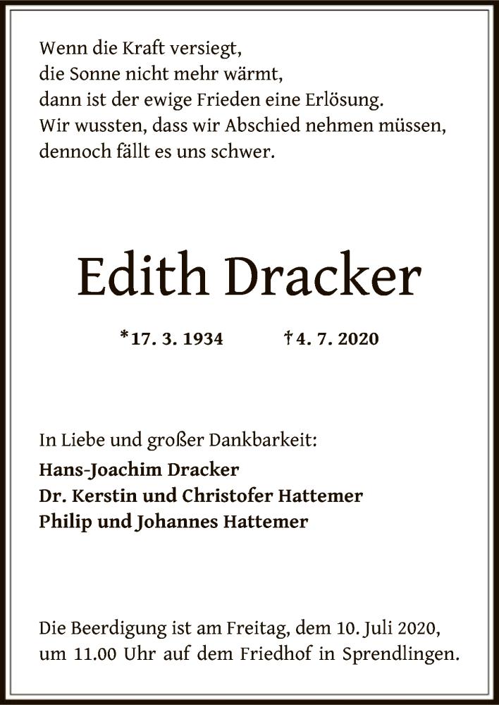 Anzeige von  Edith Dracker