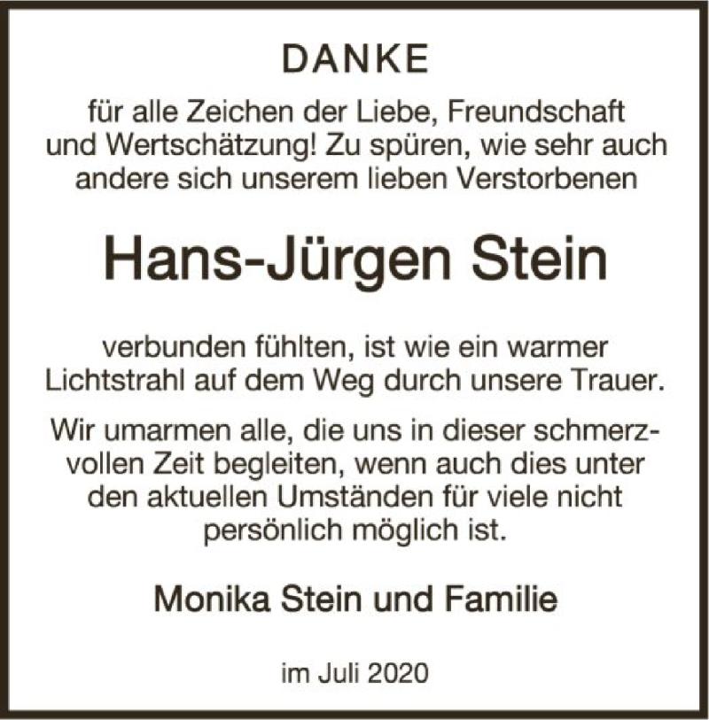 Traueranzeige für Hans-Jürgen Stein vom 18.07.2020 aus OF