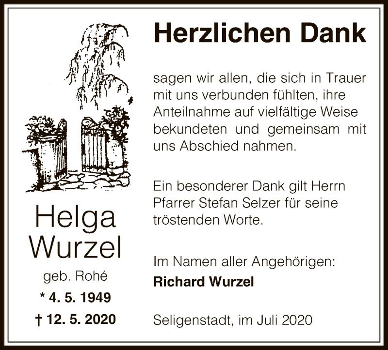 Traueranzeige für Helga Wurzel vom 08.07.2020 aus OF