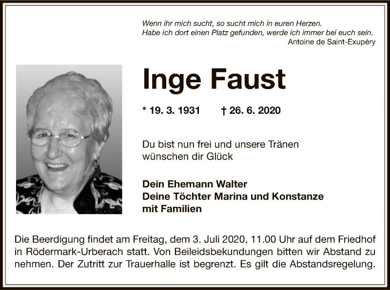 Traueranzeige für Inge Faust vom 02.07.2020 aus OF