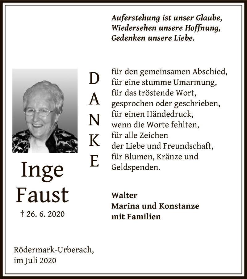 Traueranzeige für Inge Faust vom 18.07.2020 aus OF