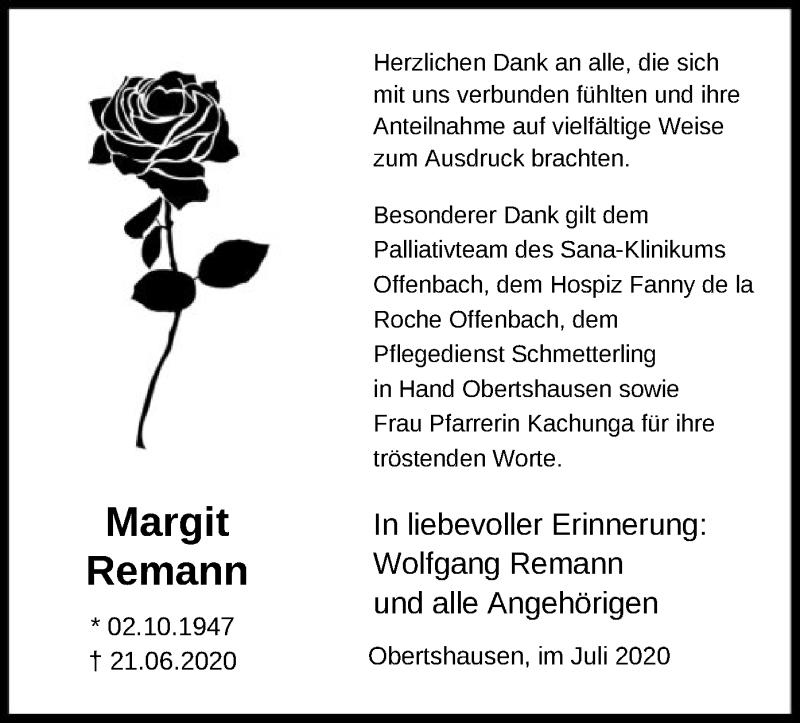 Traueranzeige für Margit Remann vom 18.07.2020 aus OF