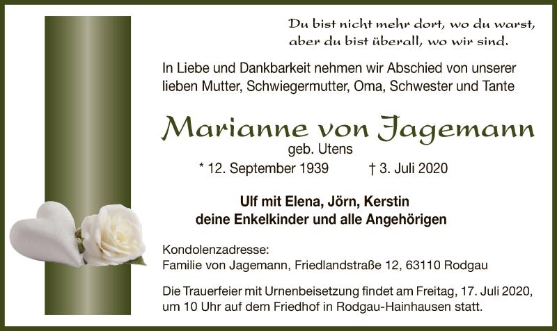 Anzeige von  Marianne von Jagemann