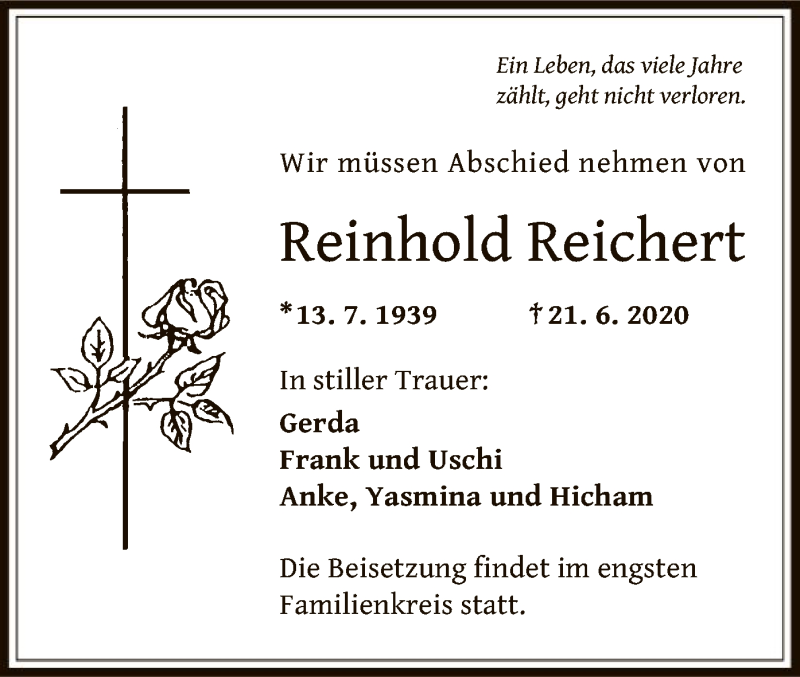 Traueranzeige für Reinhold Reichert vom 01.07.2020 aus OF