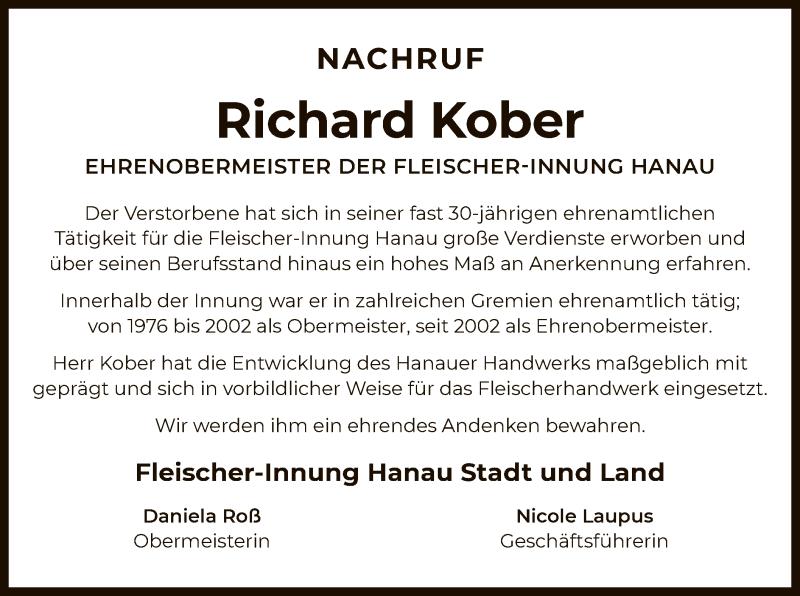 Traueranzeige für Richard Kober vom 04.07.2020 aus OF