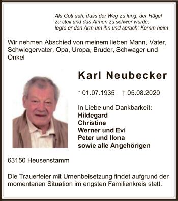 Traueranzeige von Karl Neubecker von OF