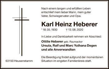 Traueranzeige von Karl Heinz Heberer von OF