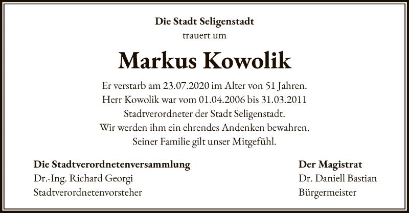 Traueranzeige für Markus Kowolik vom 12.08.2020 aus OF