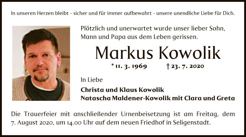 Traueranzeige für Markus Kowolik vom 05.08.2020 aus OF