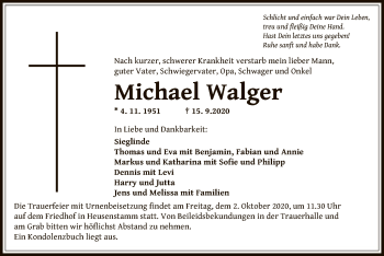Traueranzeige von Michael Walger von OF