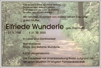Traueranzeige von Elfriede Wunderle von OF