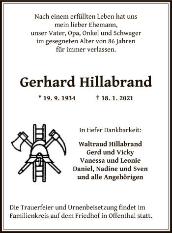 Traueranzeige von Gerhard Hillabrand von OF
