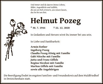 Traueranzeige von Helmut Pozeg von OF