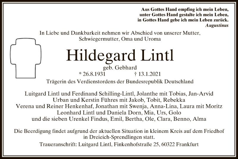 Traueranzeige für Hildegard Lintl vom 20.01.2021 aus OF