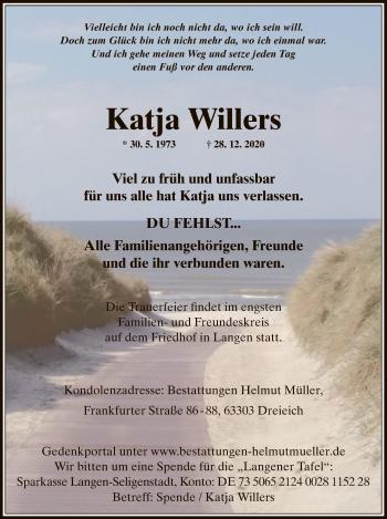 Traueranzeige von Katja Willers von OF