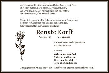 Traueranzeige von Renate Korff von OF