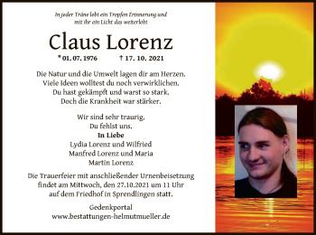 Traueranzeige von Claus Lorenz von OF