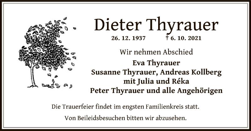 Traueranzeige für Dieter Thyrauer vom 13.10.2021 aus OF