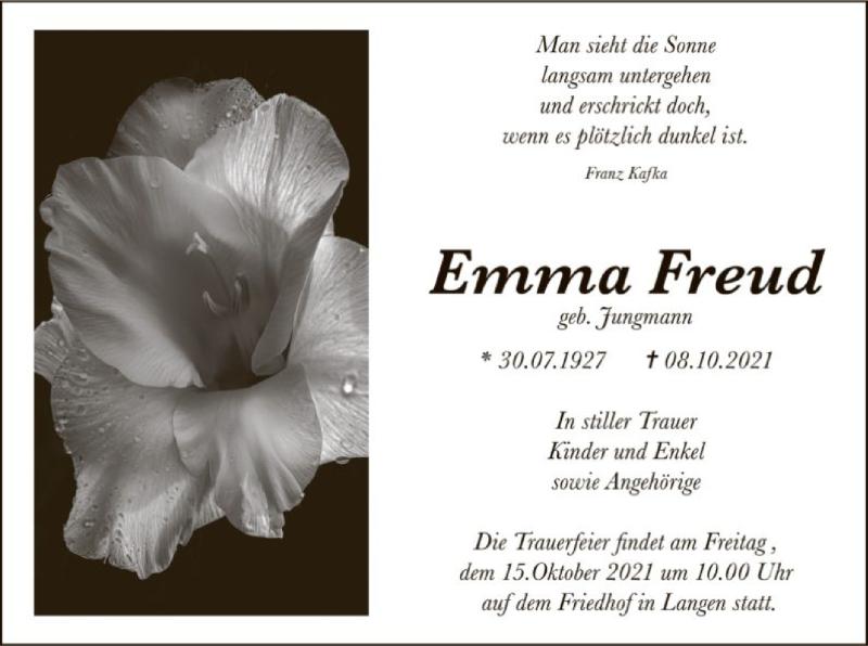 Traueranzeige für Emma Freud vom 14.10.2021 aus OF