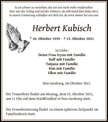 Traueranzeige von Herbert Kubisch von OF